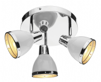 Osaka 3 Light Spotlight Plate in Gloss White with a Chrome Trim - där OSA762